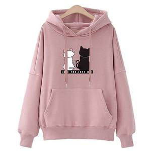 JAYCOSIN Sweatshirt Top Hooded Couple Cat-Print Loose New-Products Winter Sisters Sports