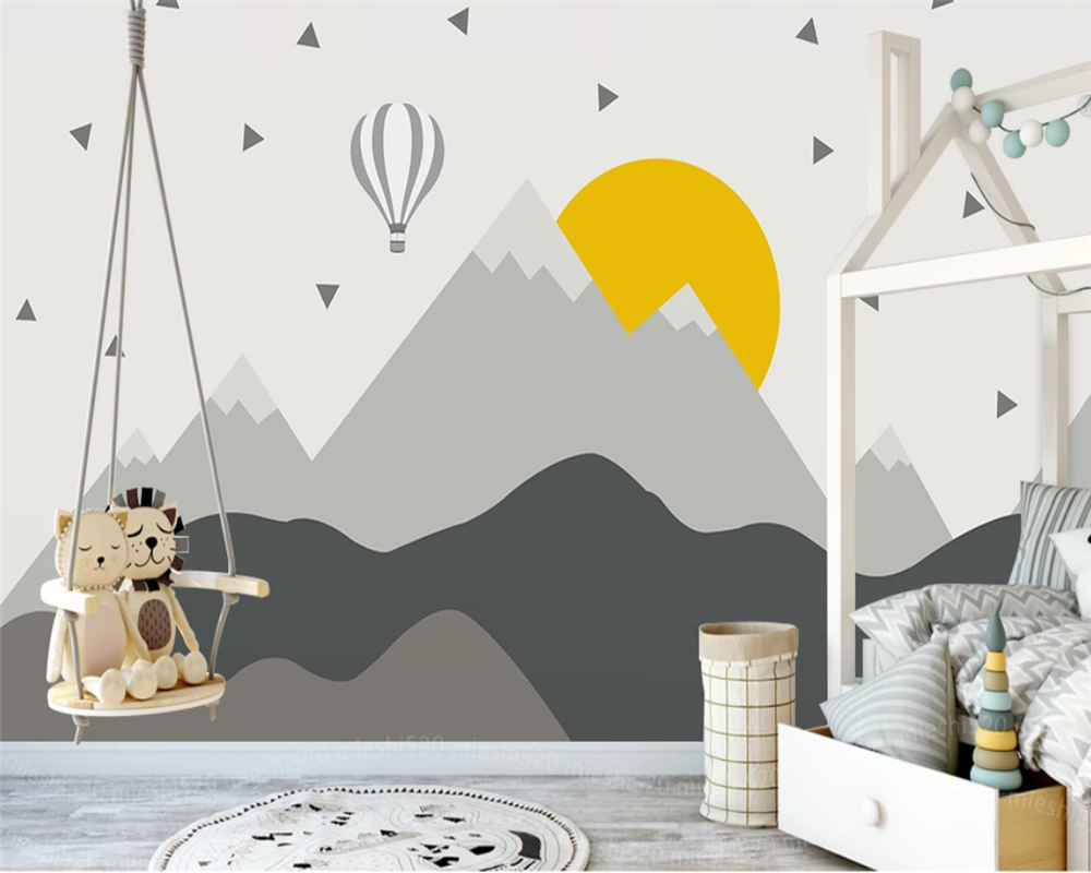 Beibehang Custom Nordic Children's Room Wallpaper Geometric Mountain Peaks Hot Air Balloon Background Wall Papers Home Decor