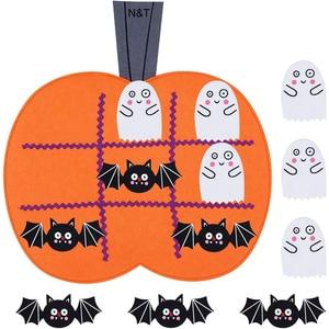 Halloween Tic Tac Toe Game Mat Ghost Bat decoración de calabazas Puzzle juego de mesa niños juguete divertido para viajes de fiesta,