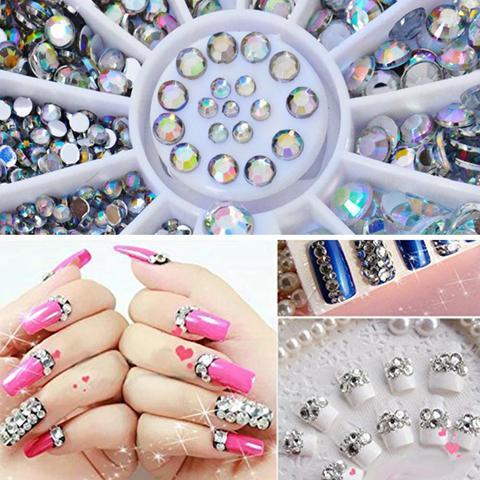 Biutee 10 pcs Shiny Diamonds Acrylic Box for Nails Decoration Nail Art, Various Colors Diamond Boxes Nail Decoration Kit Nail 3D Lahore