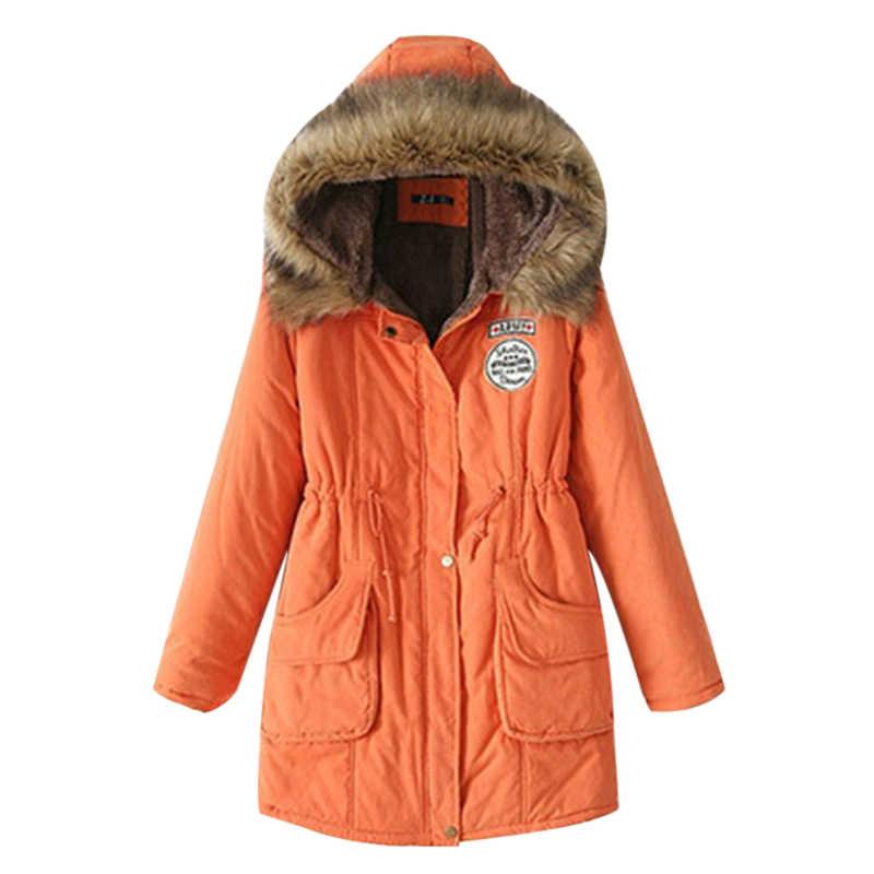 Futro kurtka kurtka zimowa kobiety ciepłe 2019 kołnierz Slim odzież wierzchnia zapinana na suwak parki kurtka damska płaszcze Plus rozmiar 3XLchaqueta mujer