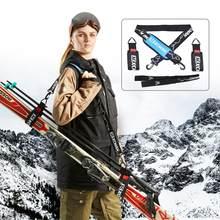 Xcman alpine ski e polos e botas portador correias bônus-ombro estilingue com suporte de velcro amortecido-protege esquis e polos