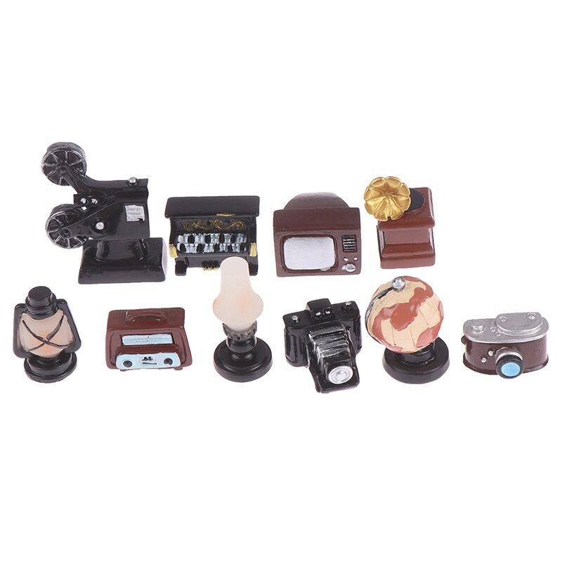 Dollhouse Miniature Retro Simulation Furniture Model Toys Lamp Oil Lamp Camera TV Piano For Doll House Decor