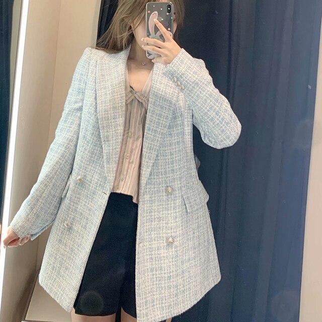 Za 2021 Women Suit Jacket Tweed Blazer Women Jacket Femme Plaszcz Wiosenny Damski Sobrecamisa Cuadros Plaid Checkered Blazer 2