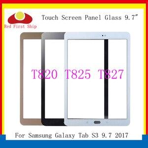 10 pçs/lote para samsung galaxy tab s3 lte 9.7 2017 t820 t825 painel da tela de toque lente vidro t827 lcd frente exterior substituição