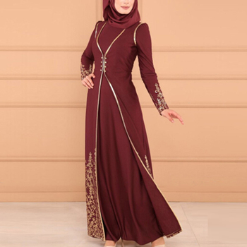 Abayas Two Piece Set Printed Arabic Turkish Islamic Clothing