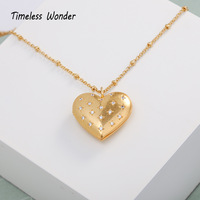 Timeless Wonder Brass Zirconia Locket Heart Pendant Necklace Women Jewelry Punk Gothic Vintage Gold Boho Long Trendy Rare 4572