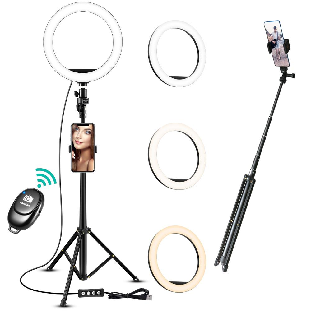10 Inch Led Selfie Ring Light Tripod LED Ring Light For Phone Youtube Video Camera Studio Make Up Lamp Bluetooth selfie stick