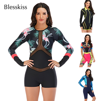 Mesh Front Long Sleeve Swimwear Sport Surfing Swimming Suit 1