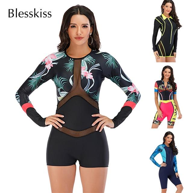 Mesh Front Long Sleeve Swimwear Sport Surfing Swimming Suit 1