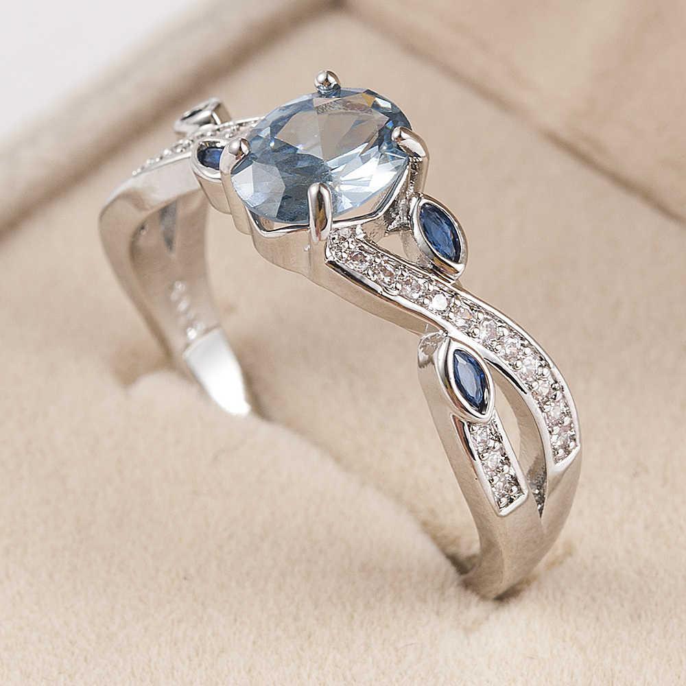 Anillos de boda de plata joyería de moda de mujer circonita azul envío gratis tamaño 6-10 anillo de compromiso