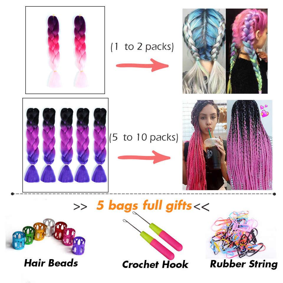 LUPU 24 pulgadas sintético largo Crochet Jumbo trenza color degradado rosa púrpura azul Rubio Kanekalon trenza extensión de cabello