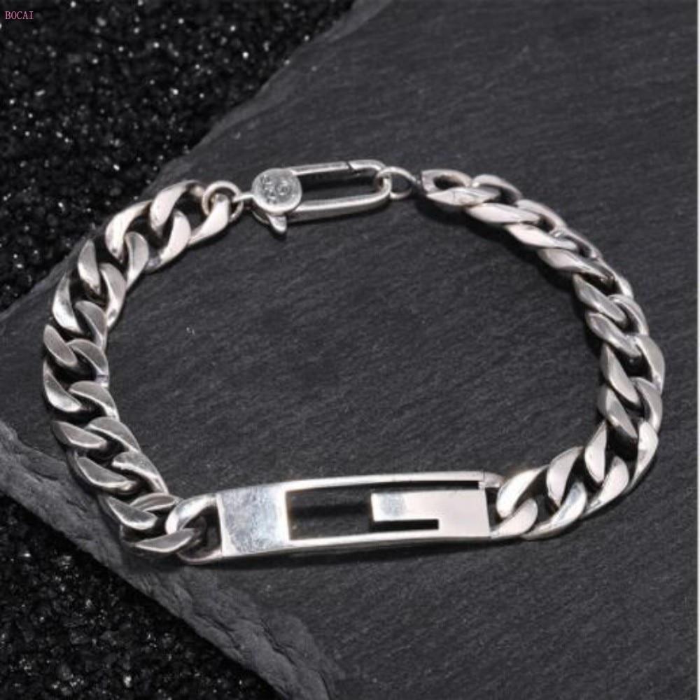 Argent Sterling s925 simplicité fouet chaîne bracelet pour hommes et femmes personnalité marée homme rétro main décoration bracelet