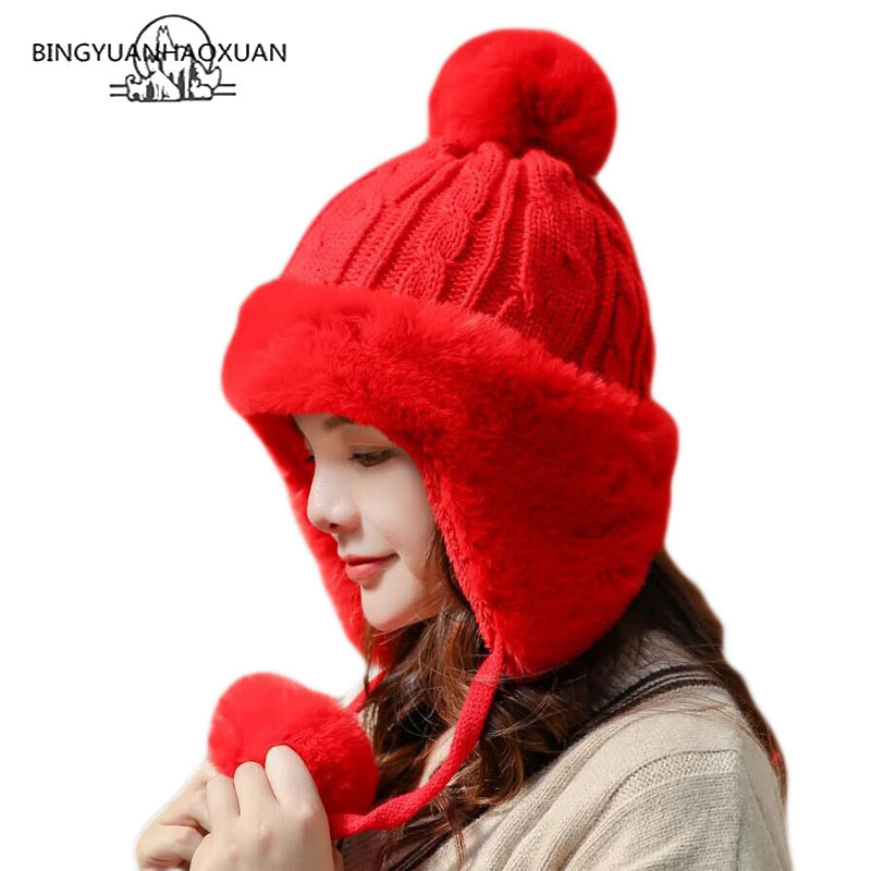 Women Cute Pompom Knitted Hat Skullies Cap Ladies Fashion Women Winter Warm Thick Outdoor Keep Warm Knitted Bomber Earflap Hat