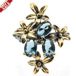 28x21 мм готический Уникальный дизайн Винтаж создала Лондон Голубой топаз Прохладный Цвета: черный, золотистый, серебристый кольцо для дам, од...