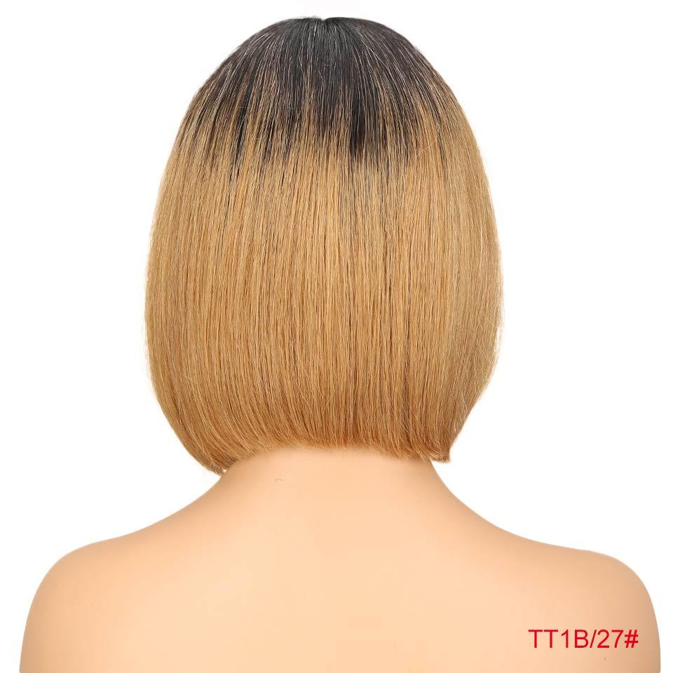 """Rebecca bob парики на кружеве для черных женщин перуанские короткие парики из человеческих волос Омбре человеческие волосы парик Средняя часть 1"""" - Цвет волос: T1B 27"""
