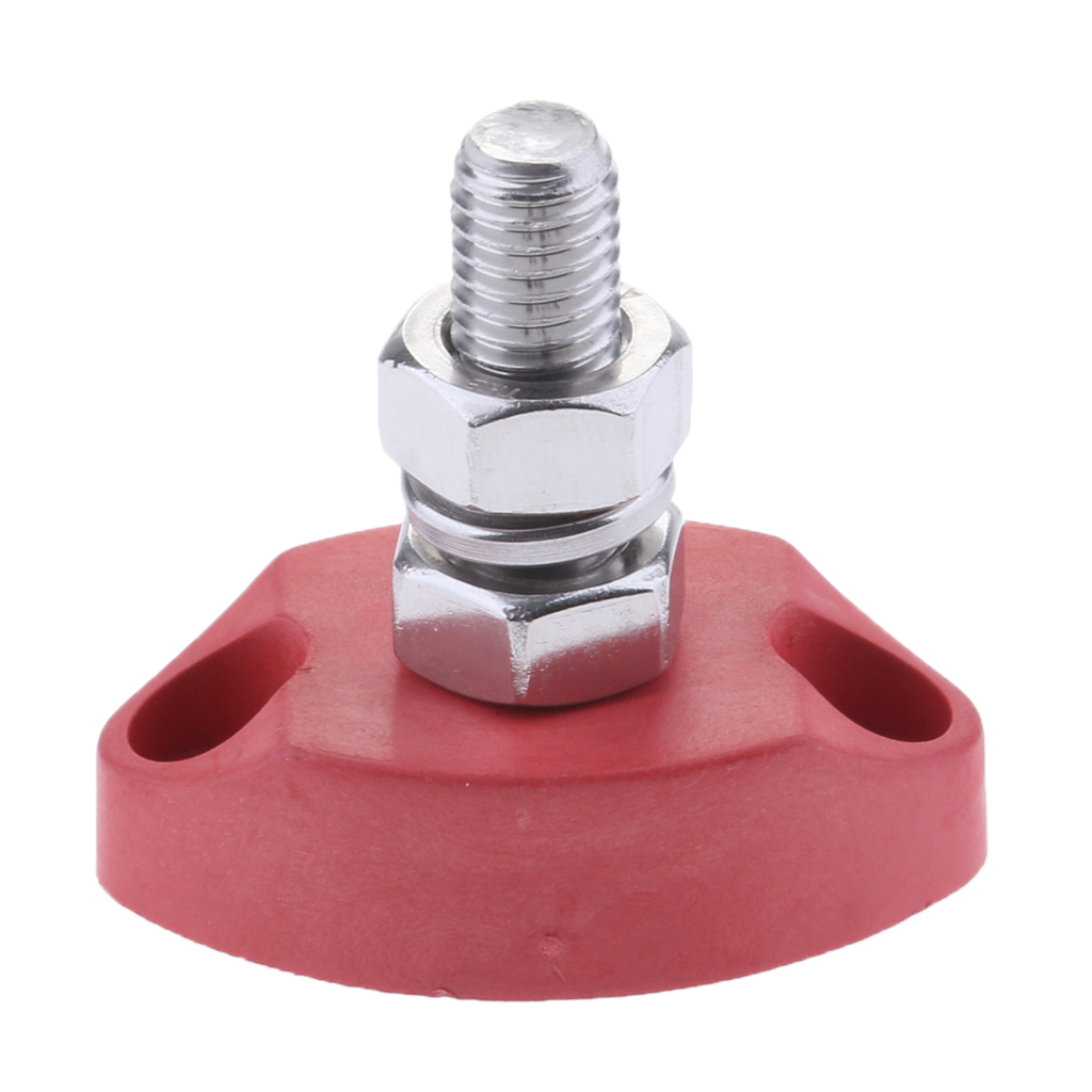4pcs 1/4 Inch 6mm Single Stud Junction Post - Heavy Duty Positive Power Distribution Block - Red+Black - Stainless Steel