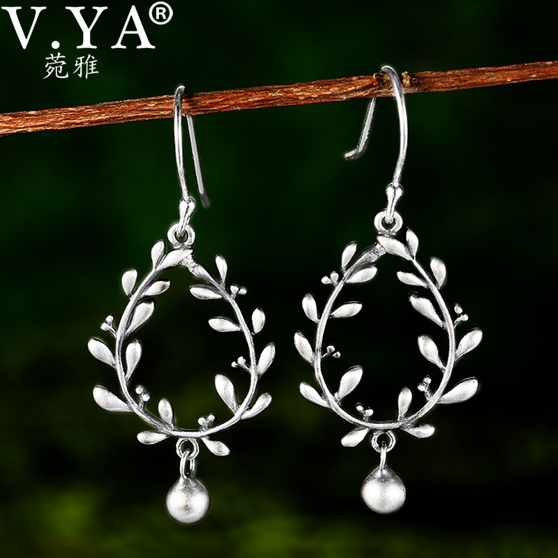 V.YA Ethnic Retro S925 Sterling Silver Dangle Earring Fancy Leaf Design Large Boho Earings For Women Jewelry