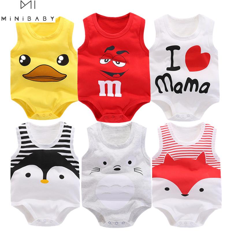 Summer Sleeveless Animal Bodysuit Newborn Baby Boy Bodysuit cotton funny swimsuit Body Baby Girl costume Minibabies short home