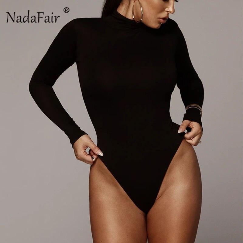 Nadafair Winter Turtleneck Bodysuit Women Black Long Sleeve Bodysuit For Woman Bodycon White Top Body Female Red Romper Stretchy