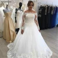 Long Sleeve Lace Appliques Wedding Dresses Sexy Ball Gown Long Bridal Dress Wedding Gowns Vestido De Novia 2019 Weddingdress