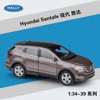 Welly 1:36 Hyundai Santafe SUV alloy car model pull-back vehicle Collect gifts Non-remote control type transport toy welly 1 36 hyundai santafe suv alloy car model pull back vehicle collect gifts non remote control type transport toy