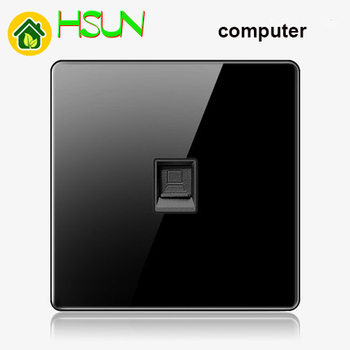 High-grade 1 2 3 4 gang 1 2 way big panel black switch socket Type 86 Wall 2.5D Cambered Mirror Toughened glass Computer TV 23