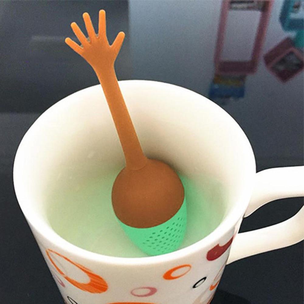 Funny Hand Gestures Tea Infuser Black Tea Strainer FDA Silicone Loose Leaf Herbal Spice Holder Tea Brewing Tools Tea Filter