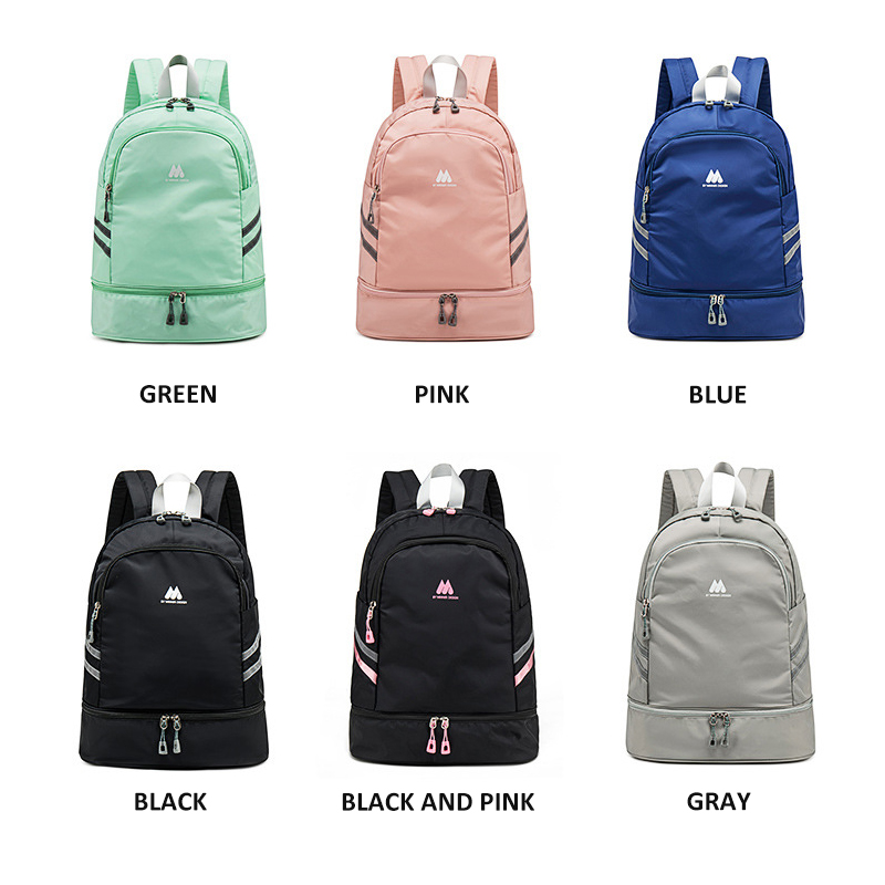 Image 4 - Women Pink Sport Gym Bag Waterproof Fitness Swimming Backpack Yoga Training Bag Shoe Compartment Travel Luggage Bag Sac De SportGym Bags   -