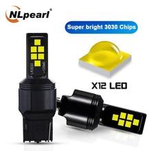 Nlpearl 2x lâmpada de sinal 7440 w21w led wy21w led canbus bulbo t20 led 7443 12v 12smd 3030 chips carro reserva lâmpadas luz de freio âmbar