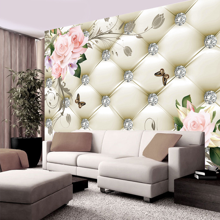 5D Mural Soft Bag TV Backdrop Wallpaper European Style Simple Seamless Wall Cloth Living Room Bedroom Wallpaper Mural