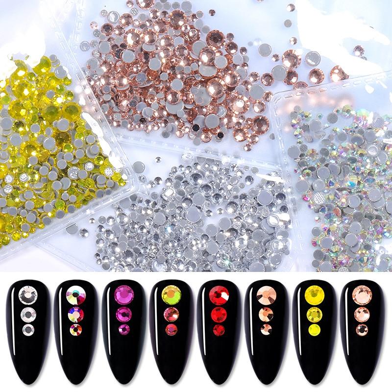 1440pcs/pack 3D Crystals Rhinestones Gold Sliver Nail Art Decorations Multi-size DIY Flatback Glass Gems Design For Nails