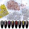 1440 шт./упак. 3D кристаллы, стразы, золотистые/Серебристые украшения для дизайна ногтей, многоразмерные стеклянные камни с плоской задней стор...