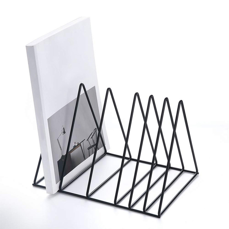 File Holder <font><b>Stand</b></font> <font><b>Metal</b></font> Desktop <font><b>Book</b></font> Shelf <font><b>Book</b></font> <font><b>Stand</b></font> File Organizer Magazine Rack for Home Office Decoration Shelf Black image