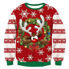 O Neck Christmas Sweater 3d Antler Print Novelty Ugly Unisex Men Women Long Sleeve Pullover Jumpers