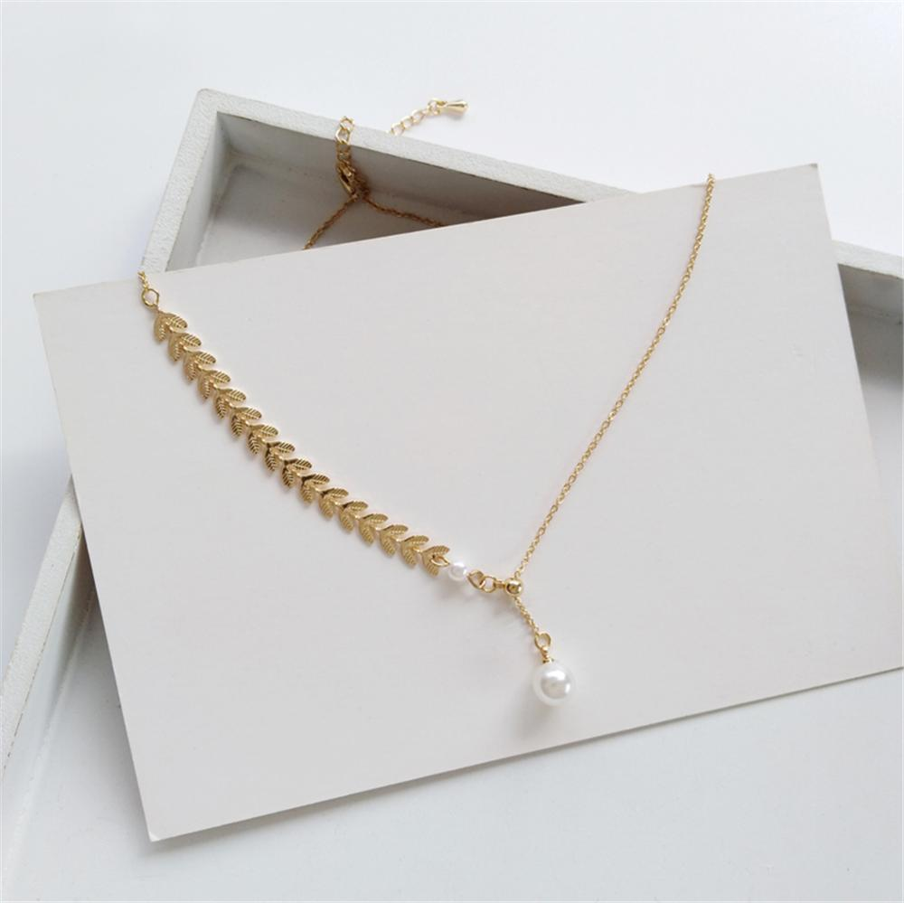 Ruanme collarbone chain pearl pendant necklace personality geometric asymmetric women necklace jewelry accessories(China)