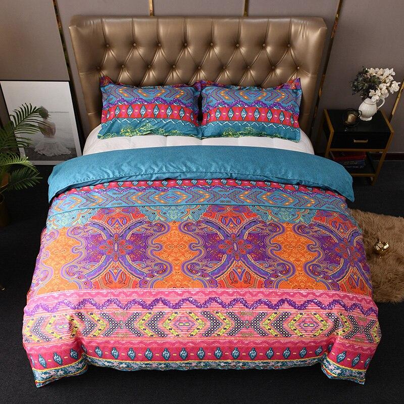 Bonenjoy Duvet Cover King Size Bohemia Style Reactive Printed Quilt Cover with Pillowcase ropa de cama Queen Size Bedding Sets