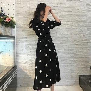 Image 4 - Fashion V neck Ladies Long Dress Casual Half Sleeve Dot Dress Female New Dresses SuperAen Summer Womens Dress Korean Style