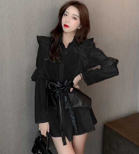 2020 autumn Patchwork Dress  Women Lapel Collar Flare Long Sleeve High Waist Pu Girdle Lace Up Mini Dresses Female Clothing 5