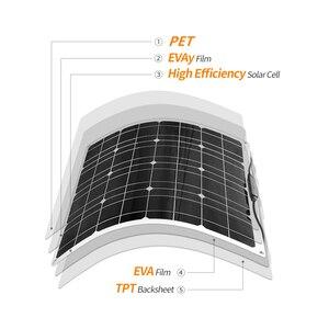 Image 4 - Panneau solaire Flexible 200w 100w 50w 12v chargeur solaire système à la maison pour voiture RV bateau caravane 1000w PV Module 540*530*3mm étanche