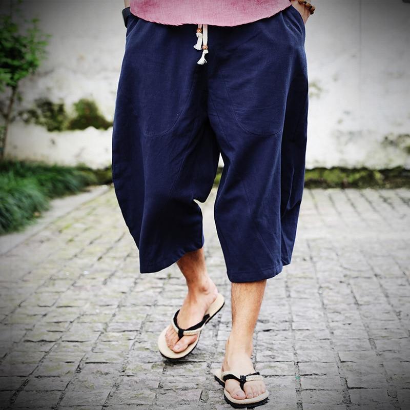 2020 Men Cotton Linen Baggy Wide Leg Pants Men Hanging Crotch Hip Hop Bloomers Pants Men's Calf-Length Cross Pants Trousers