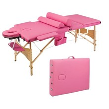 3 Sections Folding Portable Beauty Massage Table Set 70CM Wide Pink