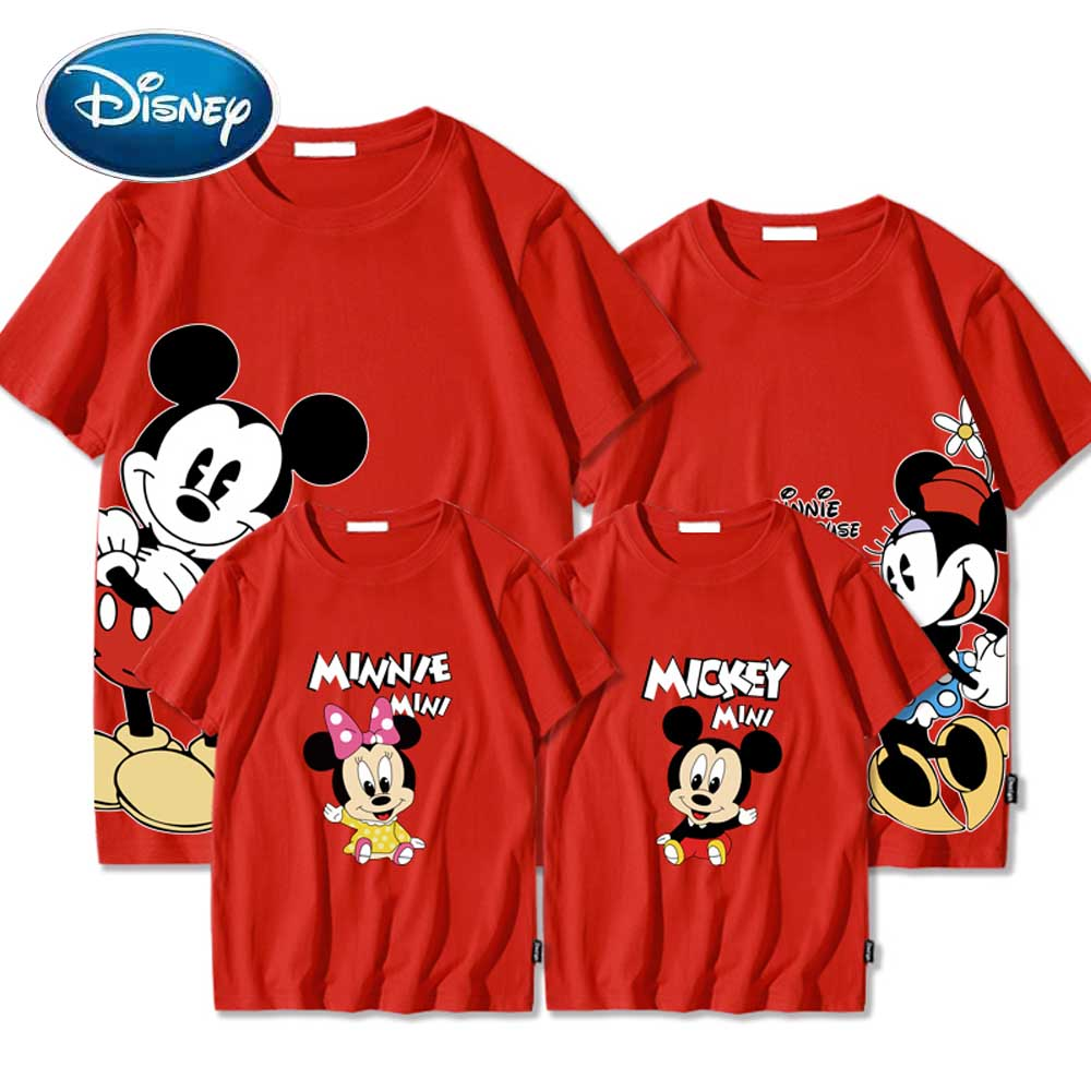 Disney Minnie Mickey Mouse Cartoon Letter Kids Toddler Mother Daughter Son Unisex T-Shirt O-Neck Short Sleeve Tee Tops 7 Colors