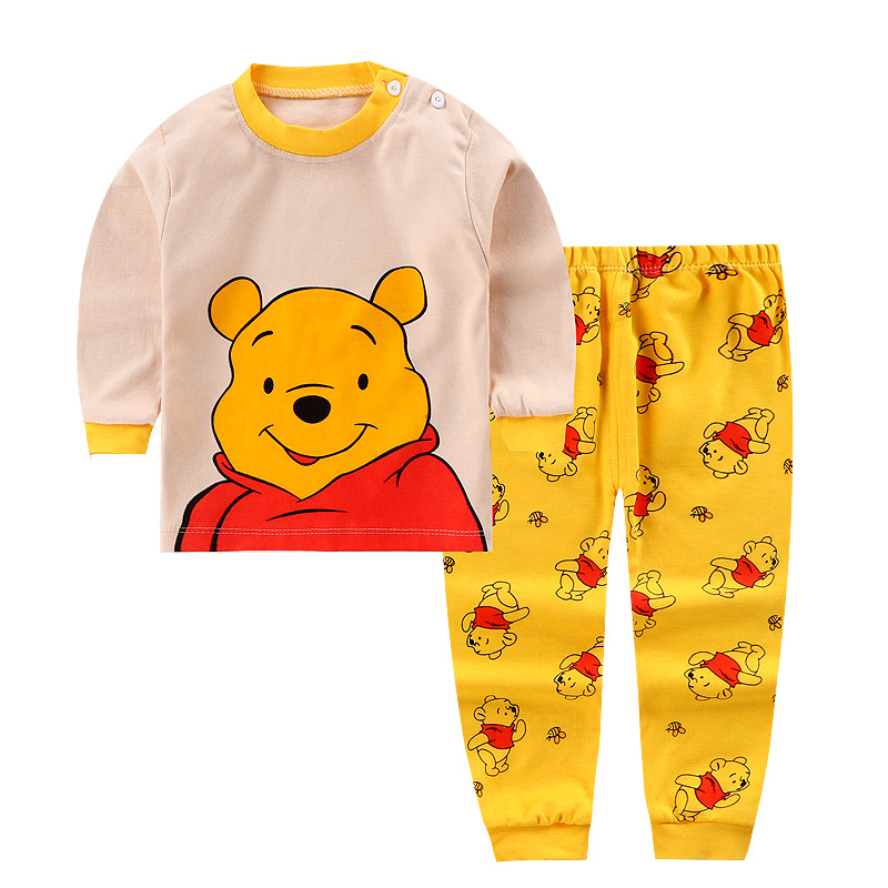 Baby Boys Kids Autumn Winter Printed Long Sleeve Leisure 2pcs Cotton Baby Girls Caotton Clothes Suit