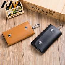 MVA Genuine Leather Key Holder Hasp Fashion Women Men Key Bag Leather Keychain Wallet Housekeeper Mini Bag Casual Vintage 112