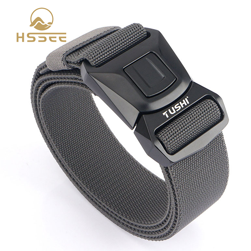 HSSEE Official authentic 2020 men's elastic tactical belt rust-proof tough metal buckle quick release military army elastic belt