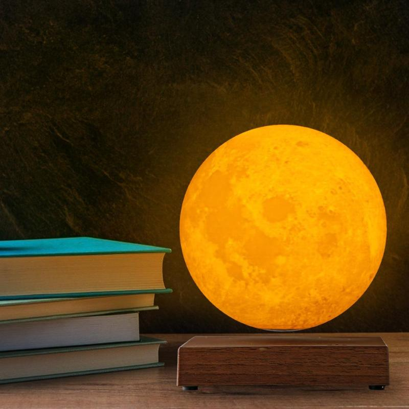 Magnetic Levitation LED Touch 3D Print Light Bedroom Moon Night Lamp Gifts