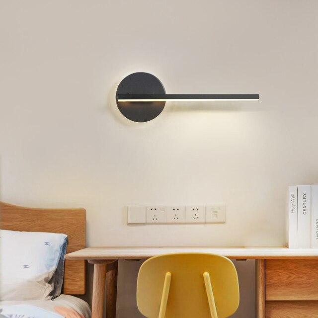 Lámpara de pared led para dormitorio, sala de estar, estudio, ajustable, decoración para el hogar, Blanco, Negro, acabado, 90 260V, novedad