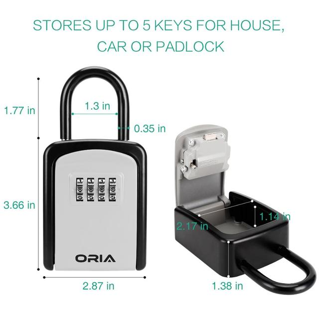 ORIA Password Key Box Outdoor Key Safe Lock Box Decoration Key Code Box Key Storage Lock Box Wall Mounted Password Box 2