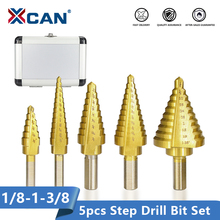 XCAN 5pcs HSS Titanuim Straight Flute Step Drill Bit Set Pagoda Shape Hole Cutter in Aluminum Case Core Drill Bit